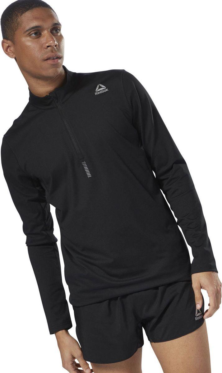 Лонгслив мужской Reebok Run Quarter Zip, цвет: черный. D92924. Размер L (54)