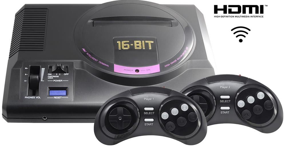 Игровая приставка Sega Retro Genesis HD Ultra + 150 игр (2 беспроводных  2 4ГГц джойстика, HDMI