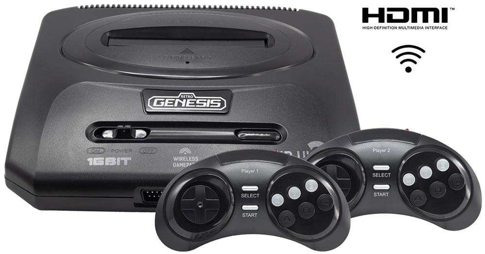 Игровая приставка Sega Retro Genesis HD Ultra 2 + 50 игр (2 беспроводных 2.4ГГц джойстика, HDMI кабель) new nintendo 2ds xl animal crossing edition gray портативная игровая приставка