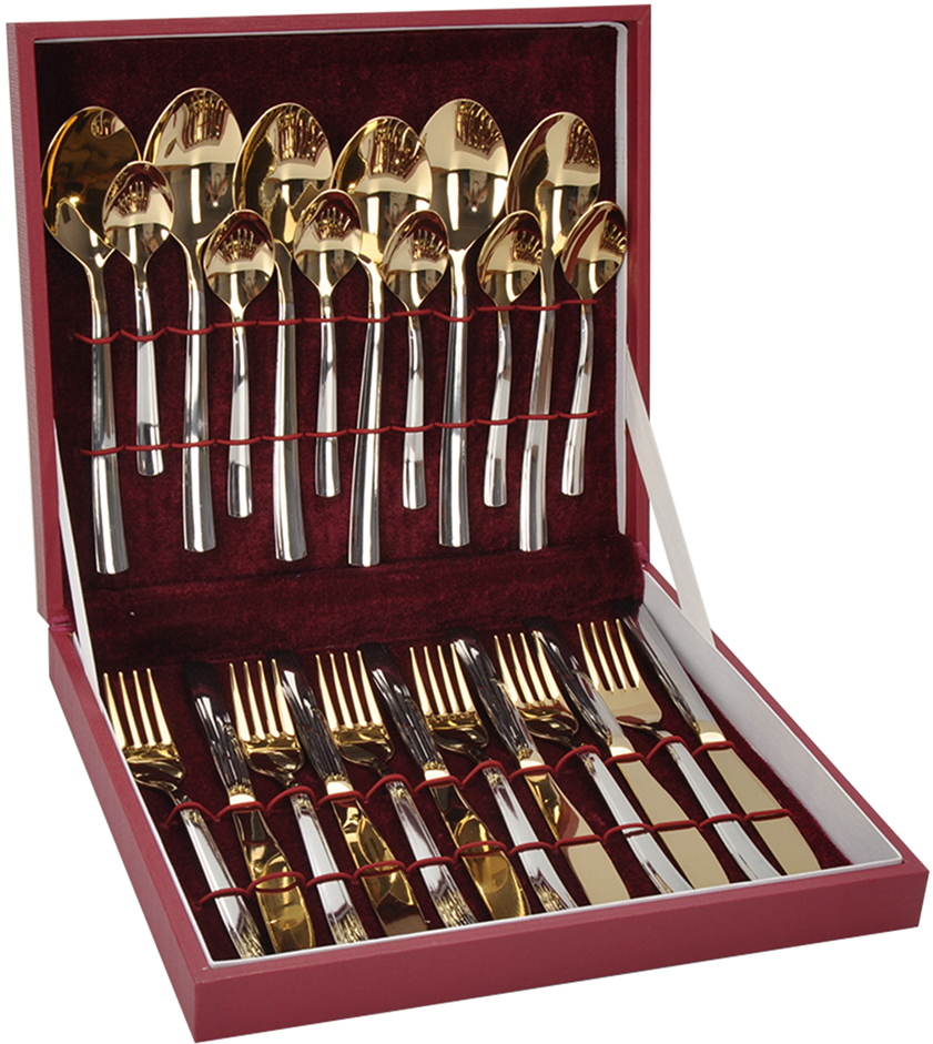 Набор столовых приборов Добросталь (Нытва) Торжество, цвет: серый металлик, золотой, 24 предмета paclan party набор для пикника на 6 персон тарелки 170мм 6шт стаканы 200мл 6шт вилки 6шт