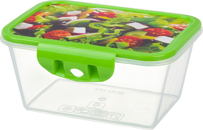 Контейнер пищевой Violet Салат, цвет: прозрачный, зеленый, 800 мл. 811270 контейнер пищевой elff decor цвет зеленый 800 мл