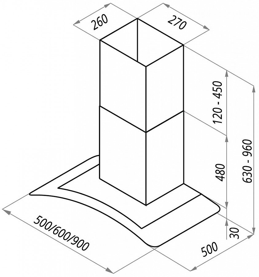 Вытяжка MAUNFELD ANCONA PLUS (C) 50 INOX GLASS B, ANCONA PLUS (C) 50 INOX GLASS B, серебристый Maunfeld