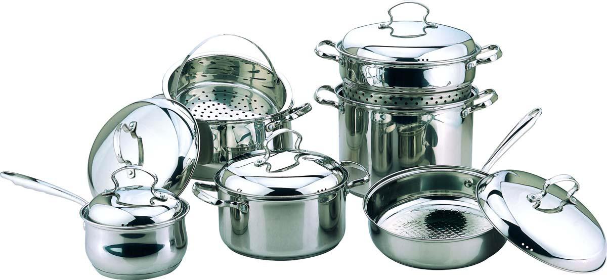 Набор посуды для приготовления Bekker, цвет: серебристый, 12 предметов. BK-2566 сковорода supra katai sad k242f 24см без крышки темно серый