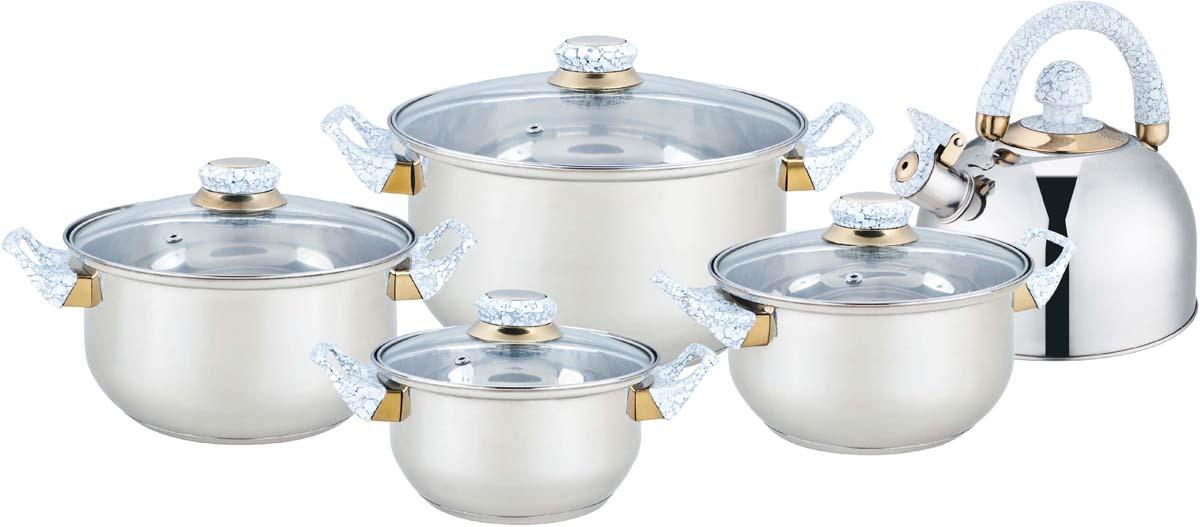 Набор посуды Bekker, 9 предметов. BK-4601BK-46019 предметов: 4 кастрюли со стеклянными. крышками : 16см - 1,6л, 18см - 2,4л, 20см - 2,8л, 24см - 5,6л и чайник металлический со свистком 2л. Ручки бакелитовые под мрамор, поверхность зеркальная, капсулированное дно, толщина стенки 0,3 мм, дна 1,0 мм. Подходит для чистки в посудомоечной машине. Состав: нержавеющая сталь.