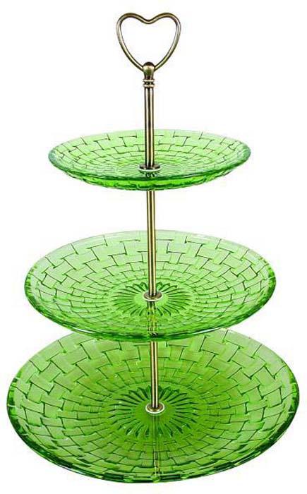 Фруктовница Bekker, 3-ярусная, цвет: зеленый. BK-7525 фруктовница bekker трехъярусная bk 7510