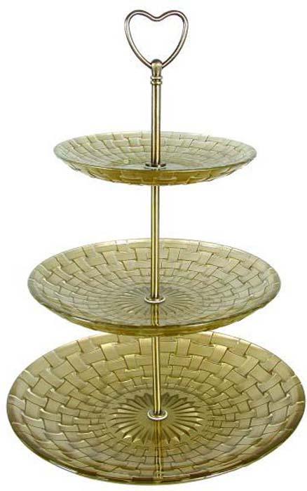 Фруктовница Bekker, 3-ярусная, цвет: золотой, высота 34,5 см. BK-7526 фруктовница bekker трехъярусная bk 7510