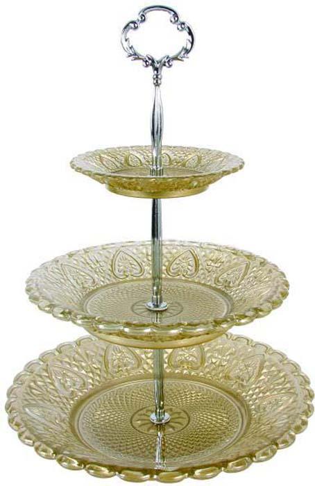 Фруктовница Bekker, 3-ярусная, цвет: золотой, высота 34,5 см. BK-7536 фруктовница bekker трехъярусная bk 7510