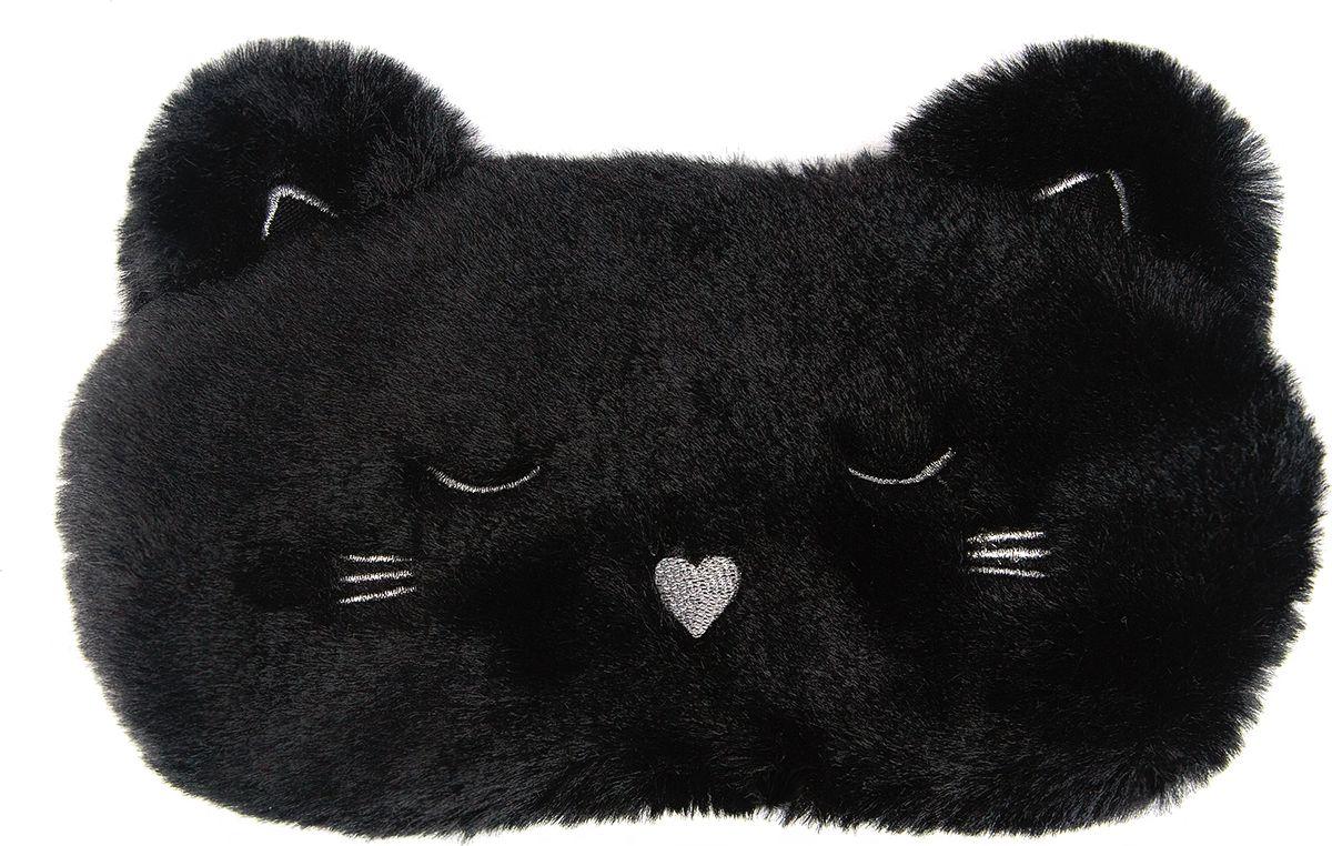Маска для сна Kawaii Factory Черный котик, цвет: черный. KW086-001779 колье kawaii factory metal цвет синий kw091 000110