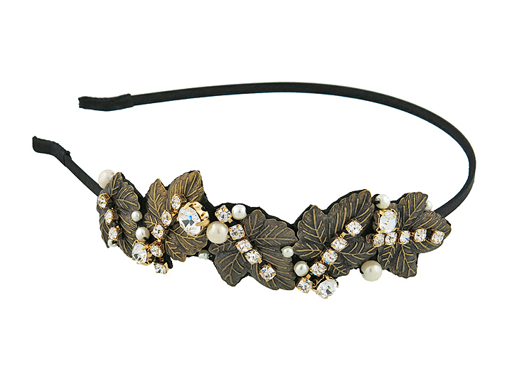 Ободок Magie Accessoires779191Ободок для волос, декорированный изящными металлическими листиками и стразами