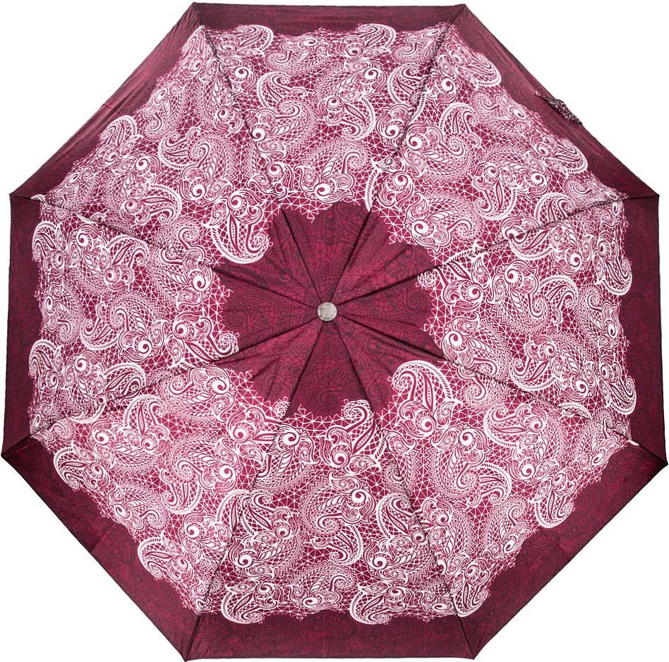 Зонт женский Doppler, 74660FGCE1, 3 сложения, автомат, бордовый зонт doppler 730163 3 yellow