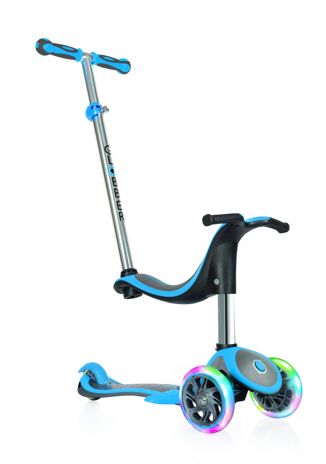 Самокат Globber EVO 4 IN 1 PLUS LIGHTS, трансформер, с подножкой, светящимися передними колесами, цвет: голубой. globber globber самокат с сиденьем evo 4 в 1 plus c подножками и 3 светящимися колесами голубой