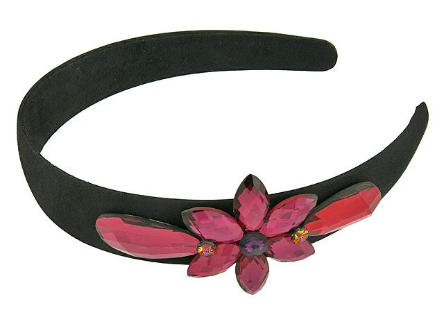 Ободок для волос Magie Accessoires декорированный стразами в форме цветка, цвет: черный, розовый. цена