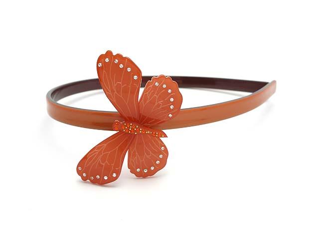 Ободок для волос Magie Accessoires с декоративным элементом - бабочка, цвет: коралловый. цена