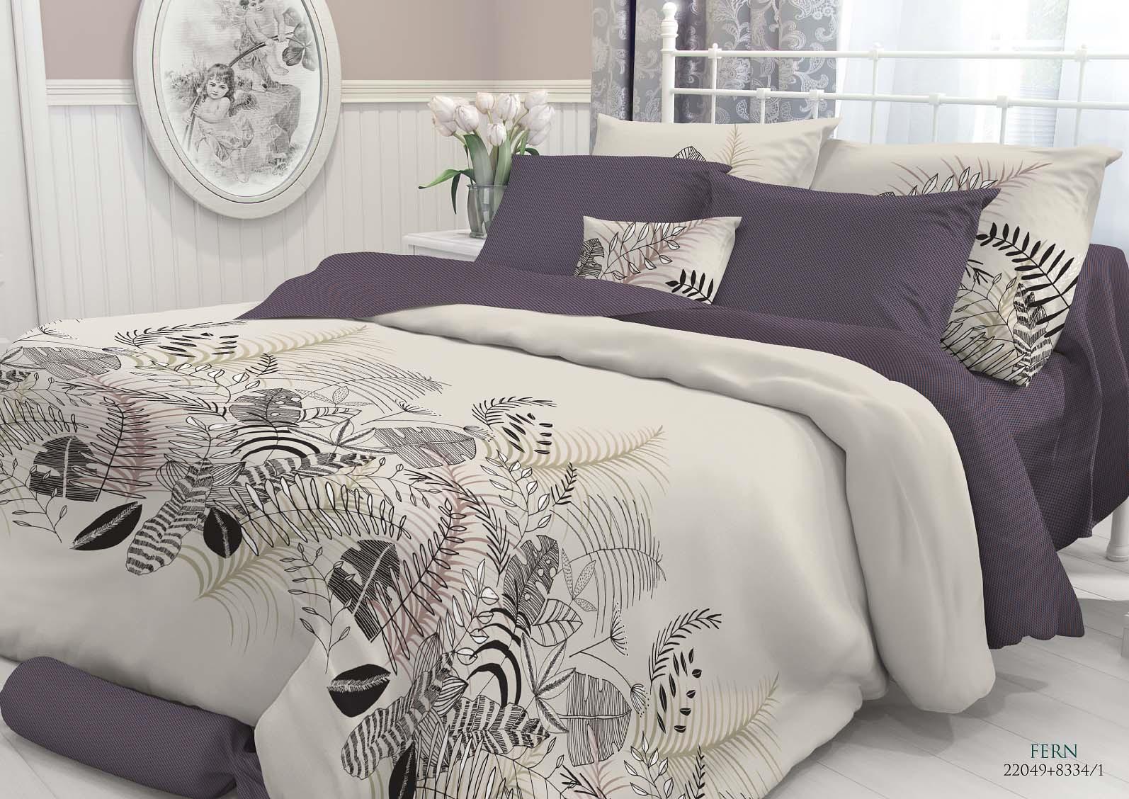 Комплект белья Verossa Fern, 2-спальный, наволочки 50x70 и 70x70 комплект белья verossa gray 2 спальный наволочки 70x70
