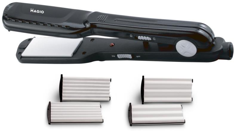 Выпрямитель для волос magio со сменными насадками, MG-679, МG-679МG-679Выпрямитель-гофре MG-679 идеально подходит для быстрого создания красивой прически.Вам будут под силу прически любой сложности и задумки.Корпус выполнен изприятного на ощупь высококачественногопластика,которыйгарантирует длительный срок службы инструмента.Материал поверхности рабочих пластин -керамика,чтовлияет не только на конечный результат прически, но и на здоровье волос. Такой вид пластиннаносит наименьший вред,быстро и равномерно нагреваются, легко скользят по волосам и предотвращают электризацию.Выпрямитель оснащенудлиненными (110мм) нагревательными пластинами шириной 25мм,которые позволяют достичь идеальных результатов за более короткое время. Утюжокбыстро нагреваетсяи будет готов к использованию меньшечем за 1 минуту.В комплект входиттрисъемные панели для выпрямления, крупных волн и маленьких волн,которыепрофессионально и бережно обеспечат превосходную укладку. Благодаря сокращению количества движений во время выпрямления волос укладка будет заниматьменьше времени. Шнур 1,7 метров с петлей для подвешивания, намного упрощает работу с устройством. Выпрямитель оснащенспециальным фиксатором,который расположен в основании прибора. Он фиксирует пластины, обеспечиваяудобство хранения выпрямителя и защиту от повреждений.