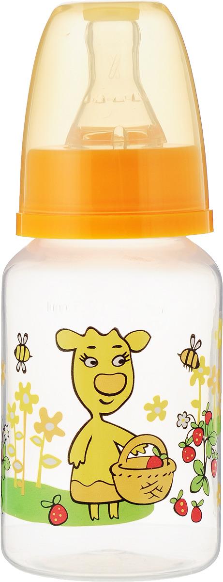 Бутылочка для кормления Мир детства, с силиконовой соской, цвет: оранжевый, от 0 месяцев, 125 мл mepsi бутылочка для кормления с силиконовой соской от 0 месяцев цвет синий 250 мл