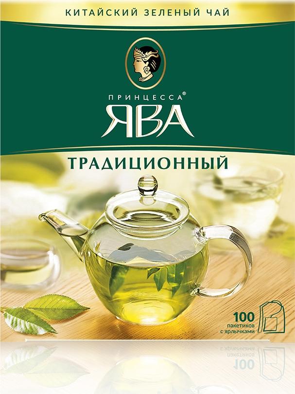 Зеленый чай в пакетиках Принцесса Ява Традиционный, 100 шт