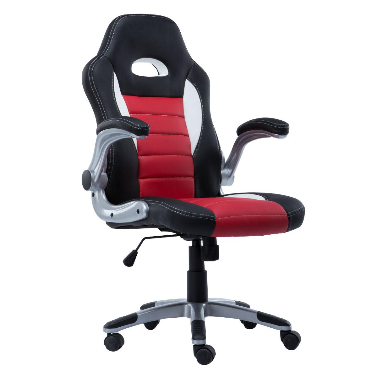 Кресло игровое Costway, ZK8040OR, черный, красный компьютерные кресла и стулья