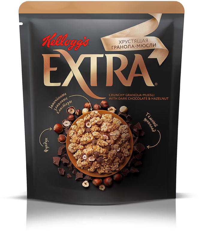 Гранола-мюсли Kellogg's, с темным шоколадом и фундуком, 300 г bionova мюсли хрустящие запеченные яблочные 400 г