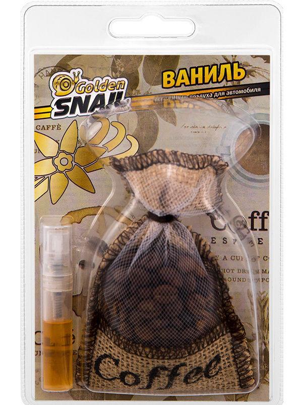 Освежитель Golden Snail Мешочек кофе (Ваниль) ароматизатор golden snail мешочек кофе mix