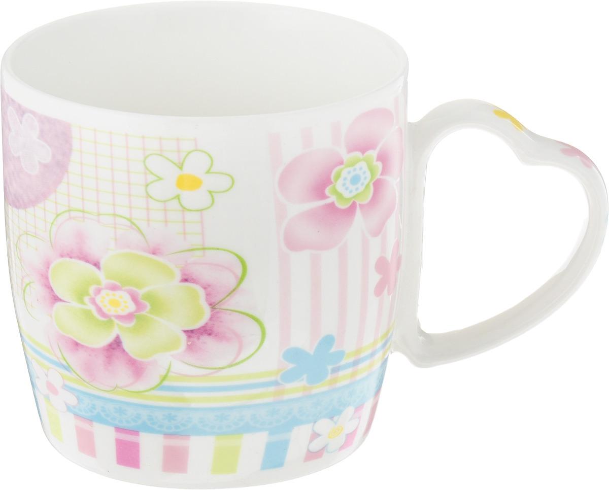 Кружка Loraine Фиалки, цвет: белый, розовый, салатовый, 300 мл кружка loraine цвет белый красный голубой 320 мл 24484