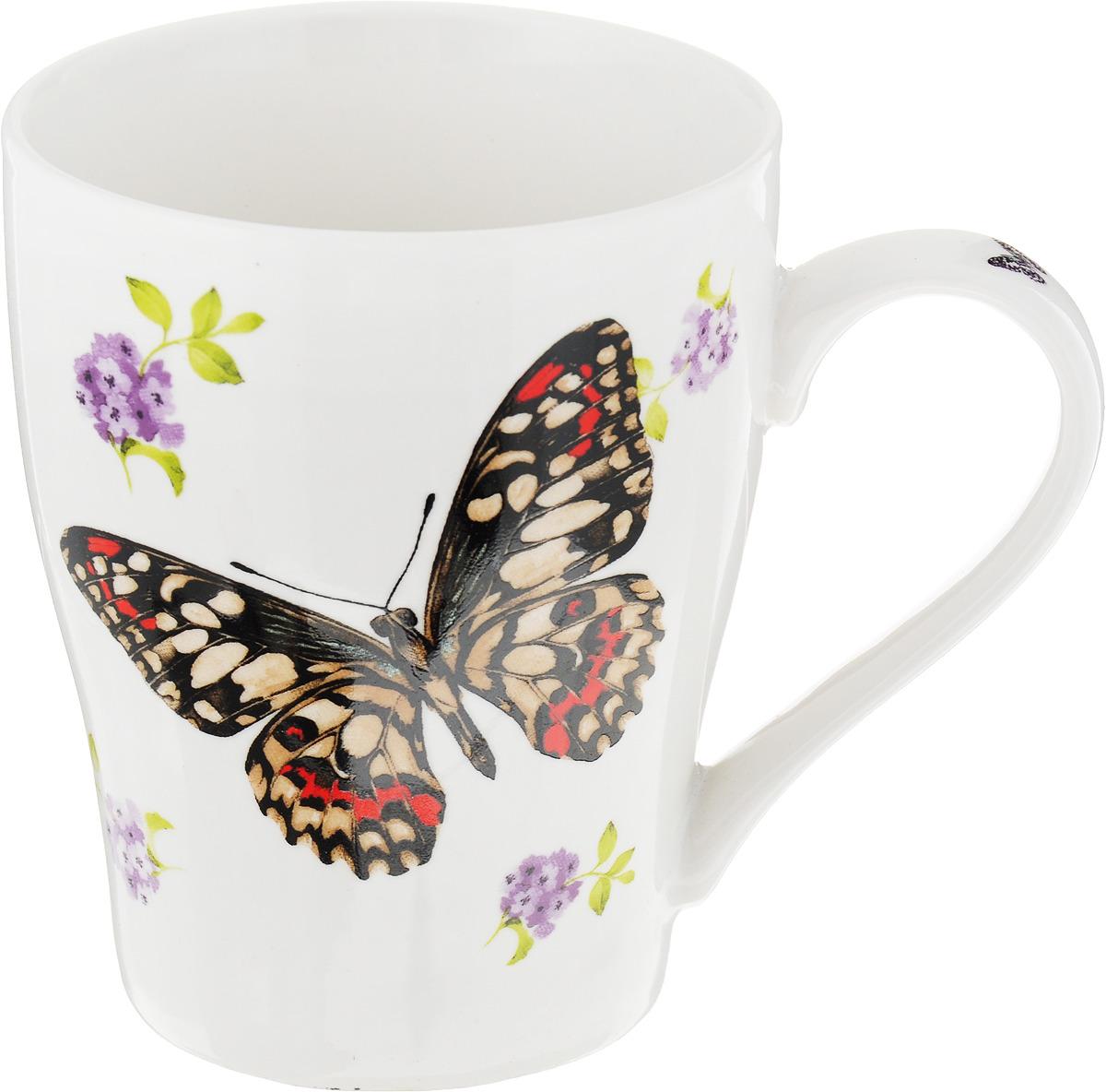 Кружка Loraine Бабочки, цвет: белый, черный, красный, 340 мл. 26586 кружка loraine цветы 340 мл мак