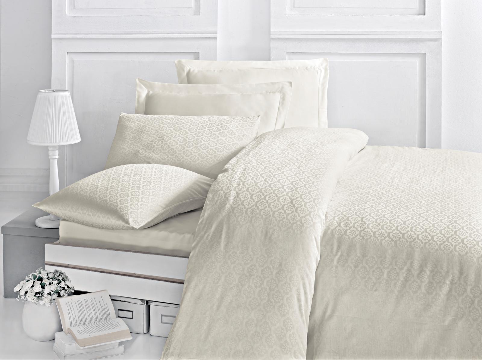 цена на Комплект белья Issimo Home Monte, евро, наволочки 50x70, цвет: слоновая кость