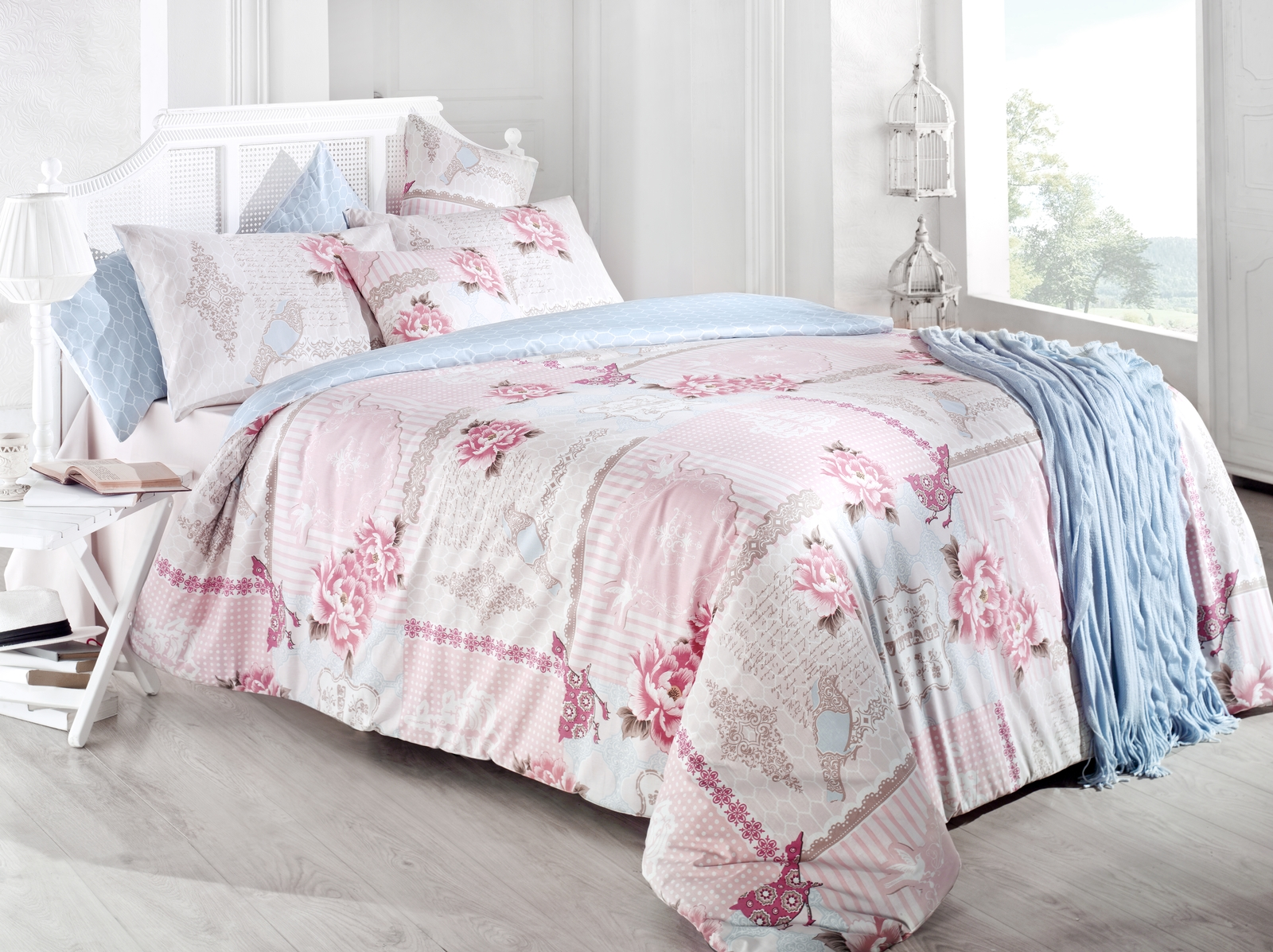 цена на Комплект белья Issimo Home Pastoral, евро, наволочки 50x70, цвет: розовый
