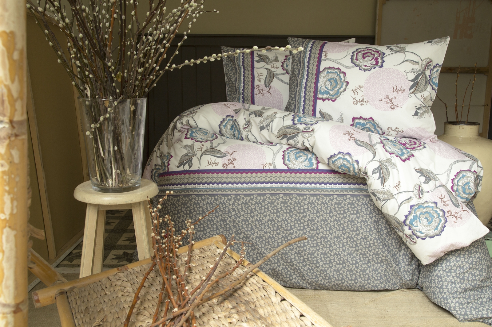 цена на Комплект белья Issimo Home Farin, 1,5-спальный, наволочки 50x70, цвет: бежевый