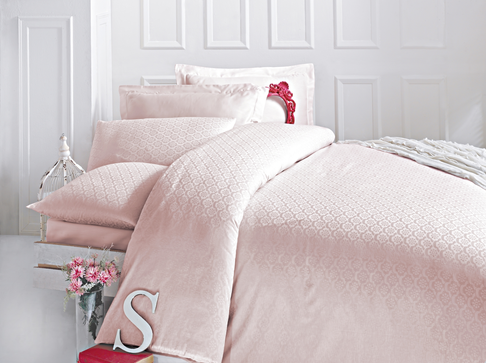 цена на Комплект белья Issimo Home Monte, евро, наволочки 50x70, цвет: розовый