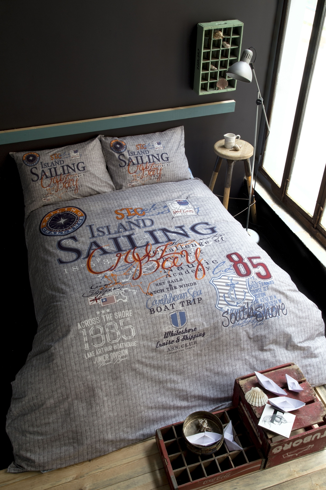 цена на Комплект белья Issimo Home Sailing, евро, наволочки 50x70, цвет: серый