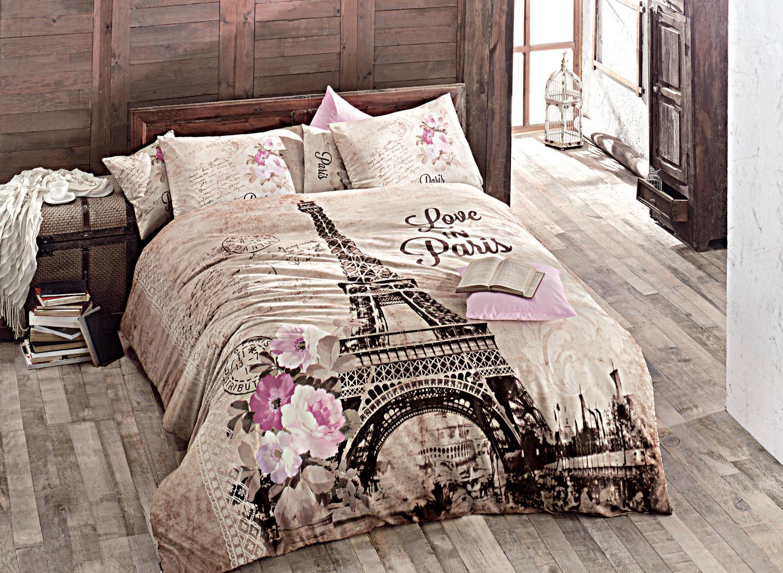 цена на Комплект белья Issimo Home Paris, евро, наволочки 50x70, цвет: бежевый