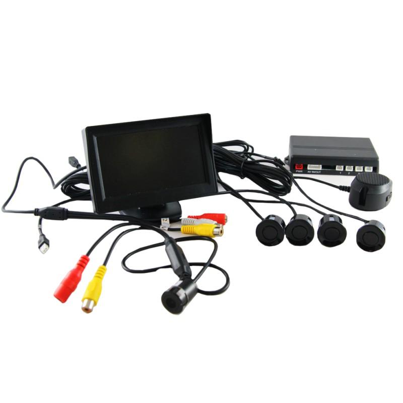 Парктроник AUTOLUXE с цветным монитором контроля, камерой заднего вида и 4-я датчиками, черный