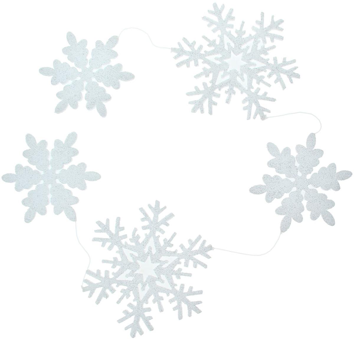 """Бусы на елку """"Снежинки резные"""", цвет: белый, длина 130 см"""