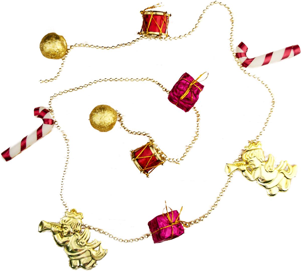 """Бусы на елку """"Ангелы, подарки, барабаны"""", цвет: разноцветный, длина 100 см"""