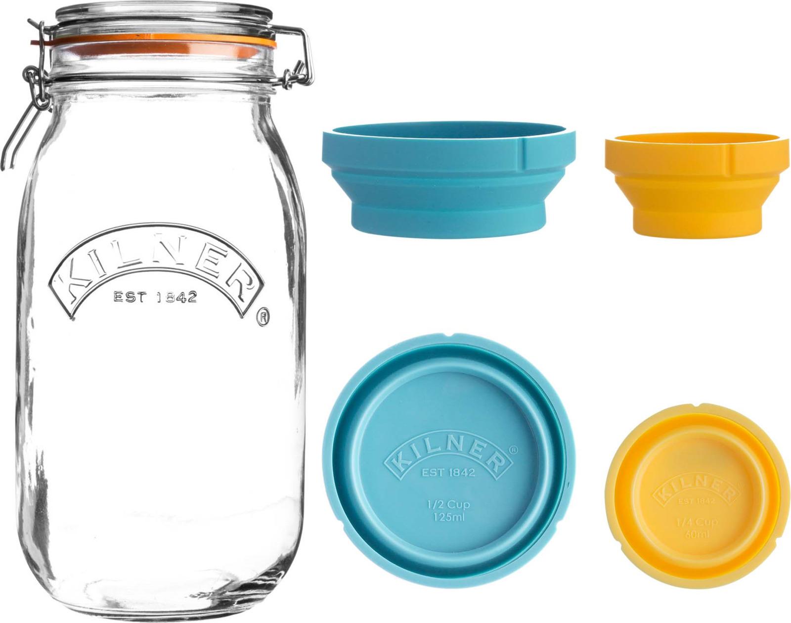 Банка для хранения Kilner Clip Top, с мерными чашами, 2 л банка для хранения kilner clip top 2 л