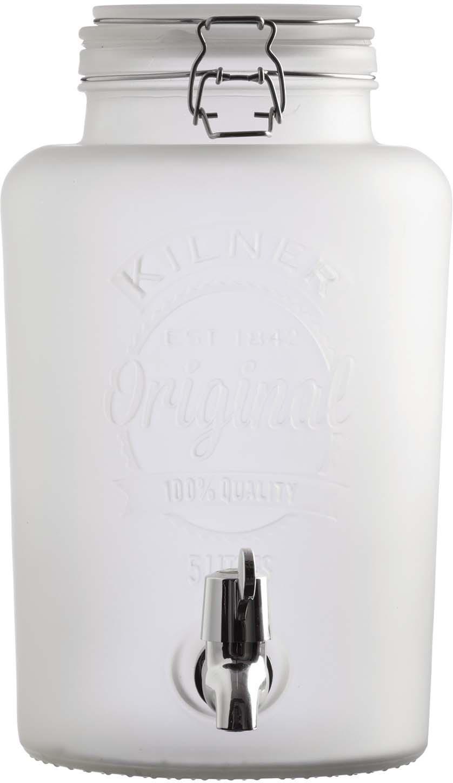 Диспенсер для напитков Kilner Clip Top Colored, цвет: белый, 5 л