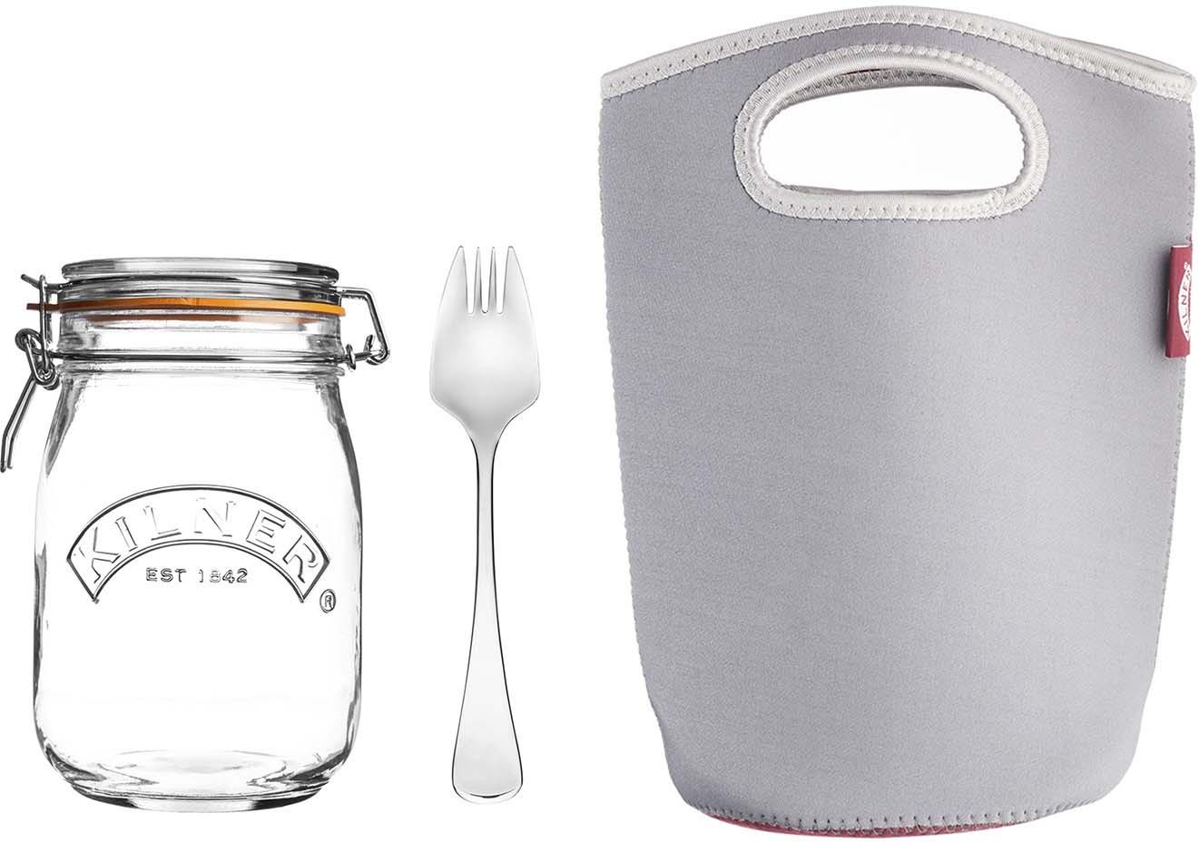 Набор для ланча с собой Kilner Prepare: банка 1 л, ложка, сумка-переноска