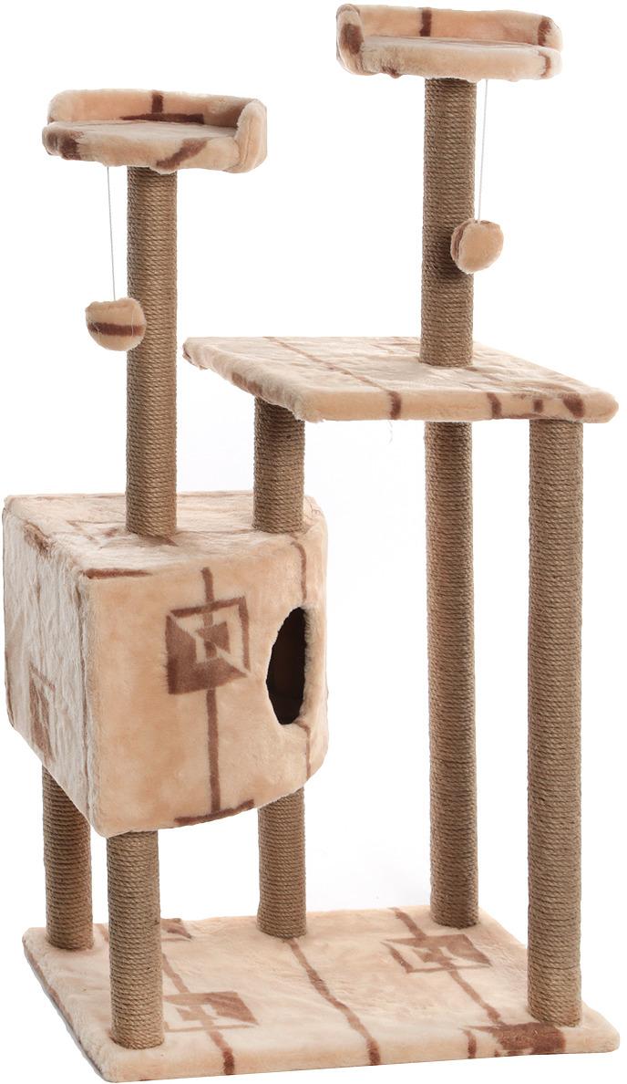 Домик-когтеточка Меридиан Угловой. Геометрия, с игрушками, 65 х 41 х 131 см домик когтеточка меридиан геометрия угловой 4 ярусный 55 х 48 х 158 см