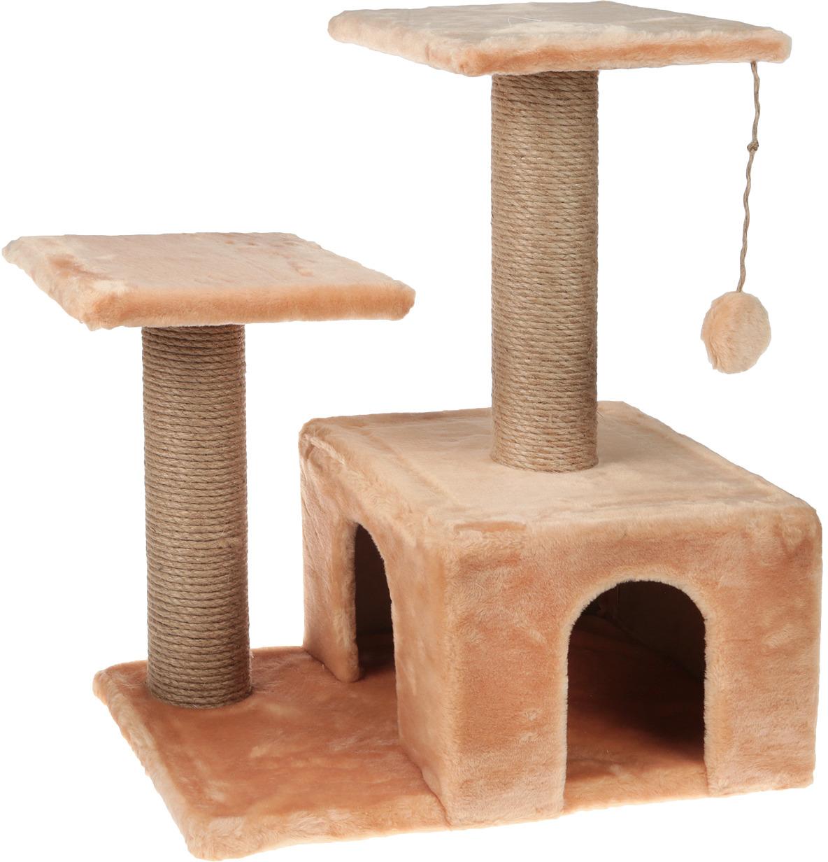 Игровой комплекс для кошек Гамма, двухуровневый, цвет в ассортименте, 57 х 35 х 77 см гамак для кошек titbit на радиатор цвет бежевый 30 см х 45 см