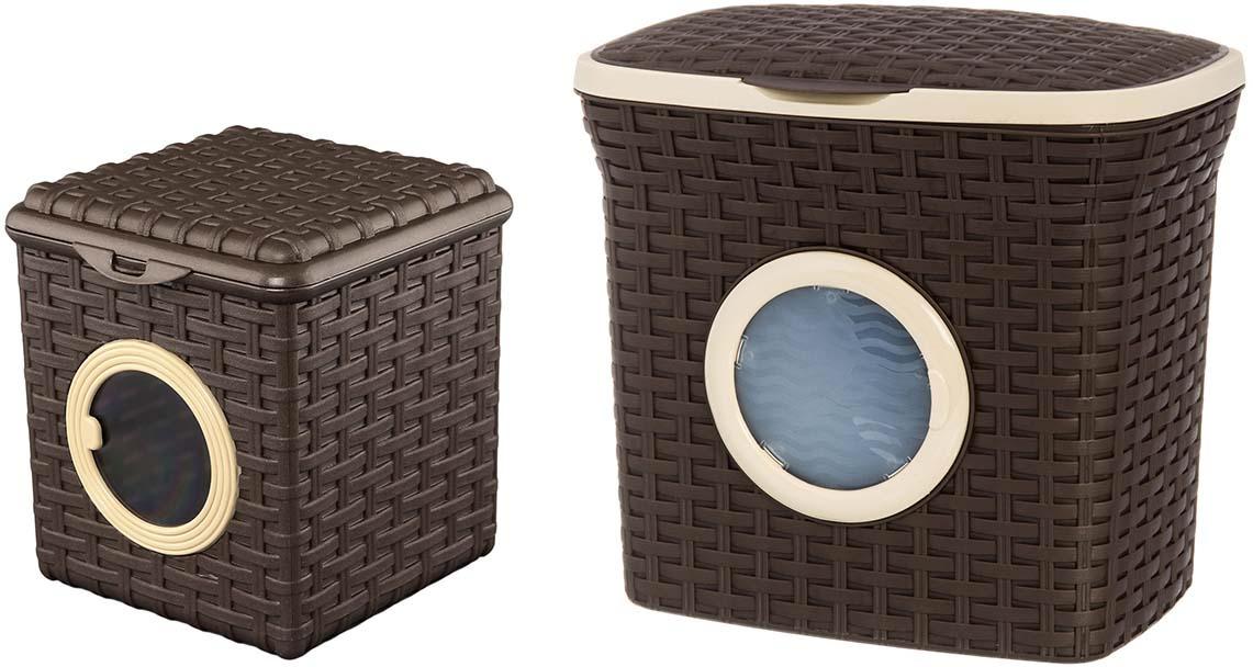 Набор контейнеров Violet Ротанг, цвет: коричневый, 2 предмета контейнер для стирального порошка violet 2111 2 ротанг бежевый
