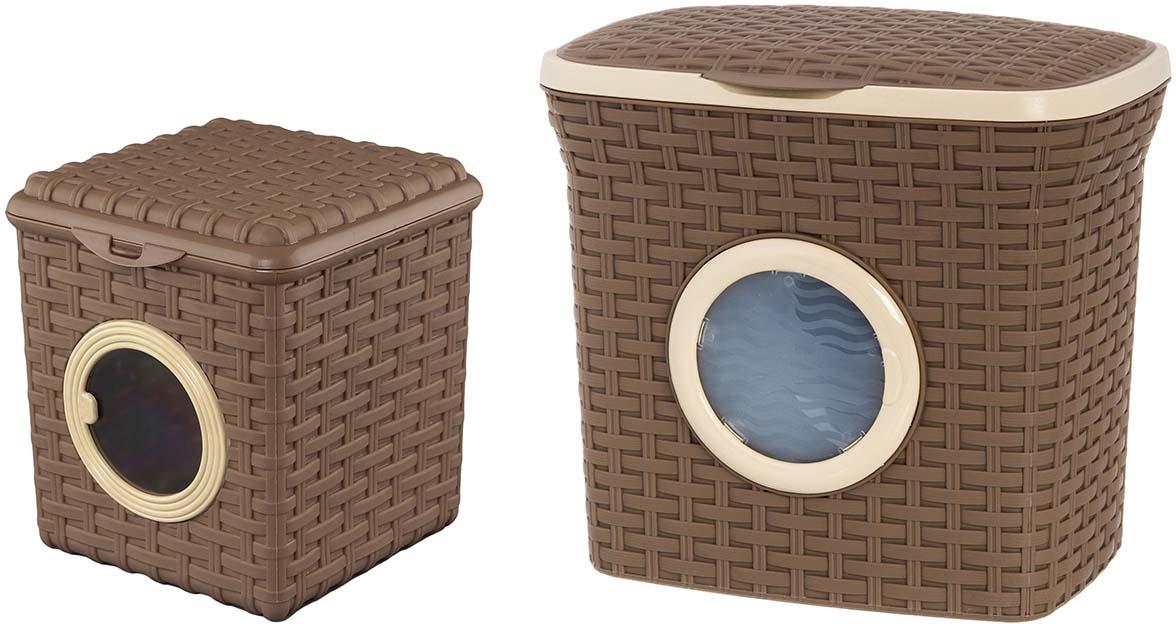 Набор контейнеров Violet Ротанг, цвет: какао, 2 предмета контейнер для стирального порошка violet 2111 2 ротанг бежевый