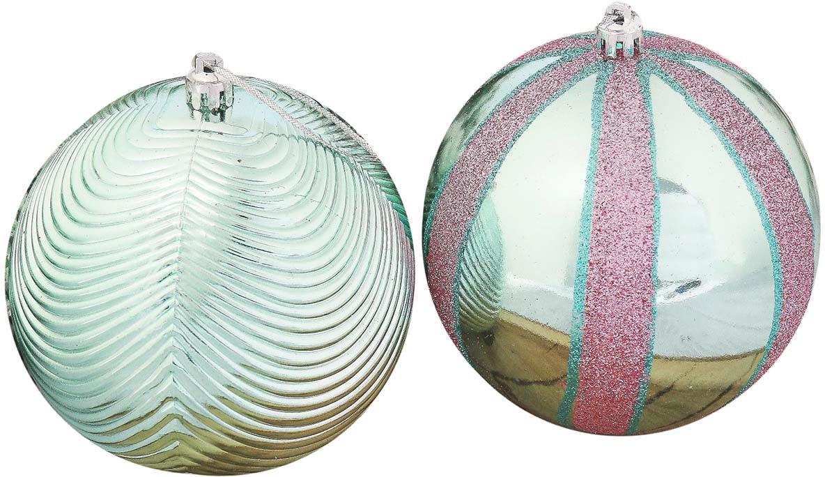 """Набор елочных шаров """"полосы"""", цвет: зеленый, диаметр 10 см, 6 шт"""