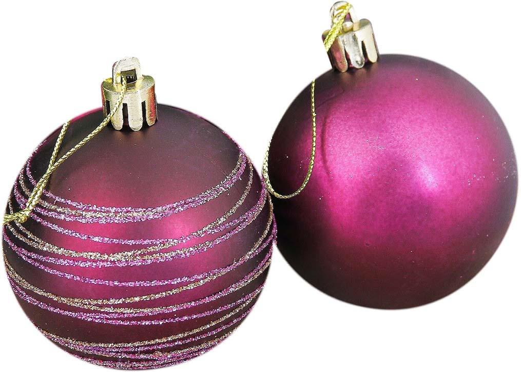 """Набор елочных шаров """"Марсаль"""", цвет: бордовый, диаметр 6 см, 16 шт"""