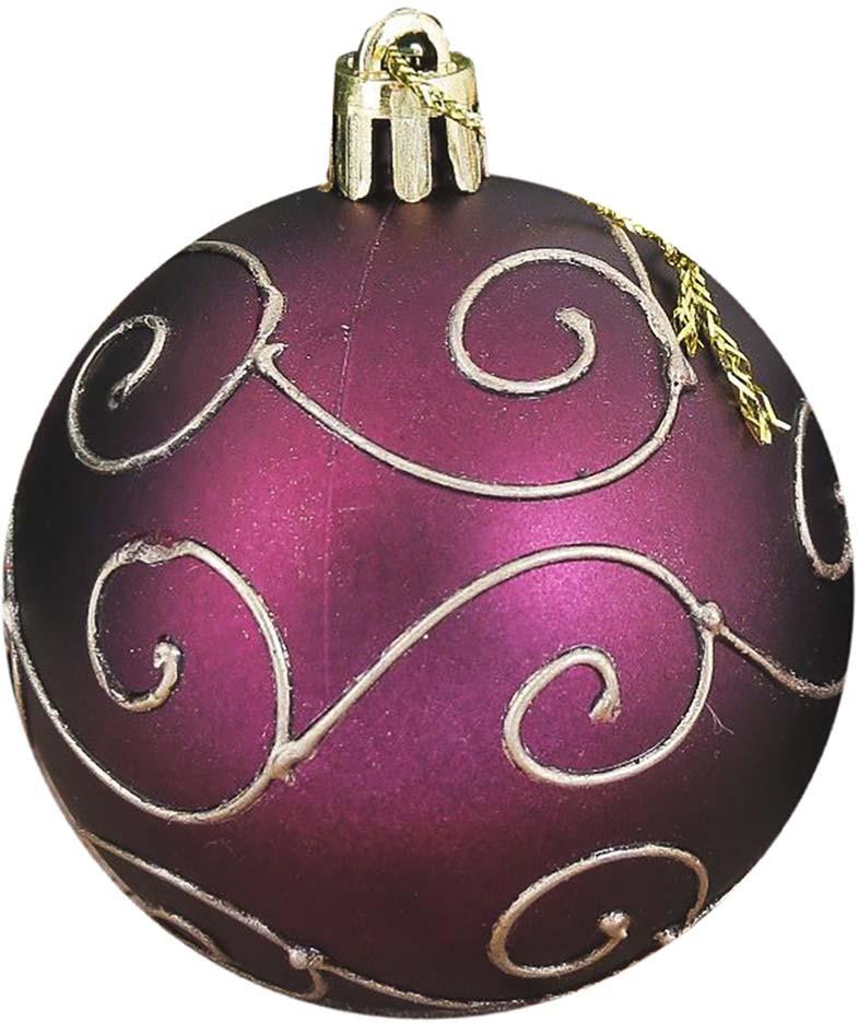 """Набор елочных шаров """"Элит"""", цвет: бордовый, диаметр 6 см, 12 шт"""
