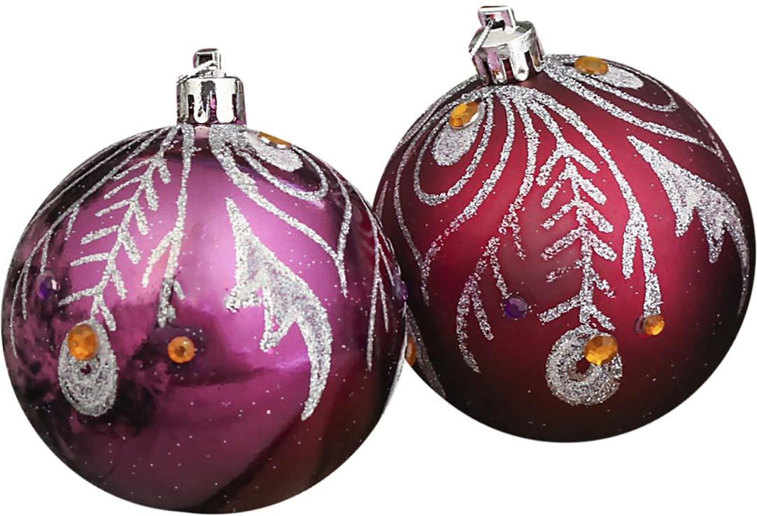 """Набор елочных шаров """"Волшебное перо"""", цвет: бордовый, диаметр 7 см, 6 шт"""