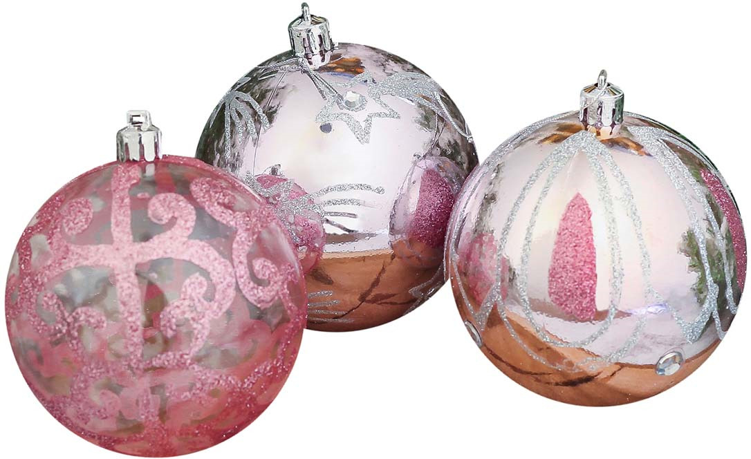 """Набор елочных шаров """"Мези"""", цвет: розовый, диаметр 8 см, 9 шт"""
