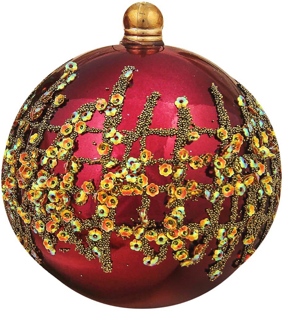 """Набор елочных шаров """"Меланта"""", цвет: бордовый, диаметр 10 см, 2 шт"""