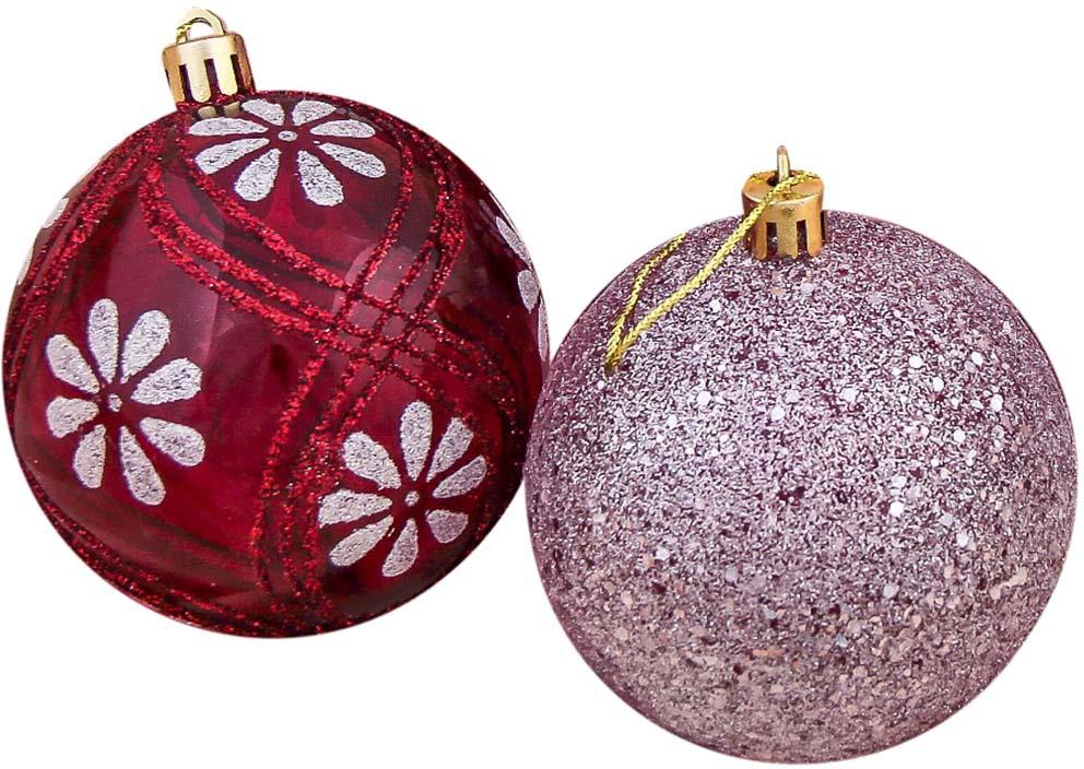 """Набор елочных шаров """"Ромашки"""", цвет: бордовый, диаметр 8 см, 6 шт"""