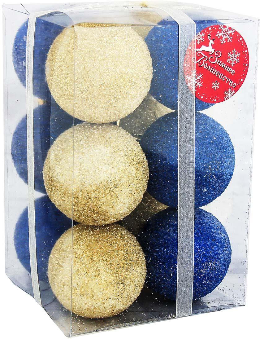 "Набор елочных шаров ""Сахарная пудра"", цвет: разноцветный, диаметр 6 см, 12 шт"